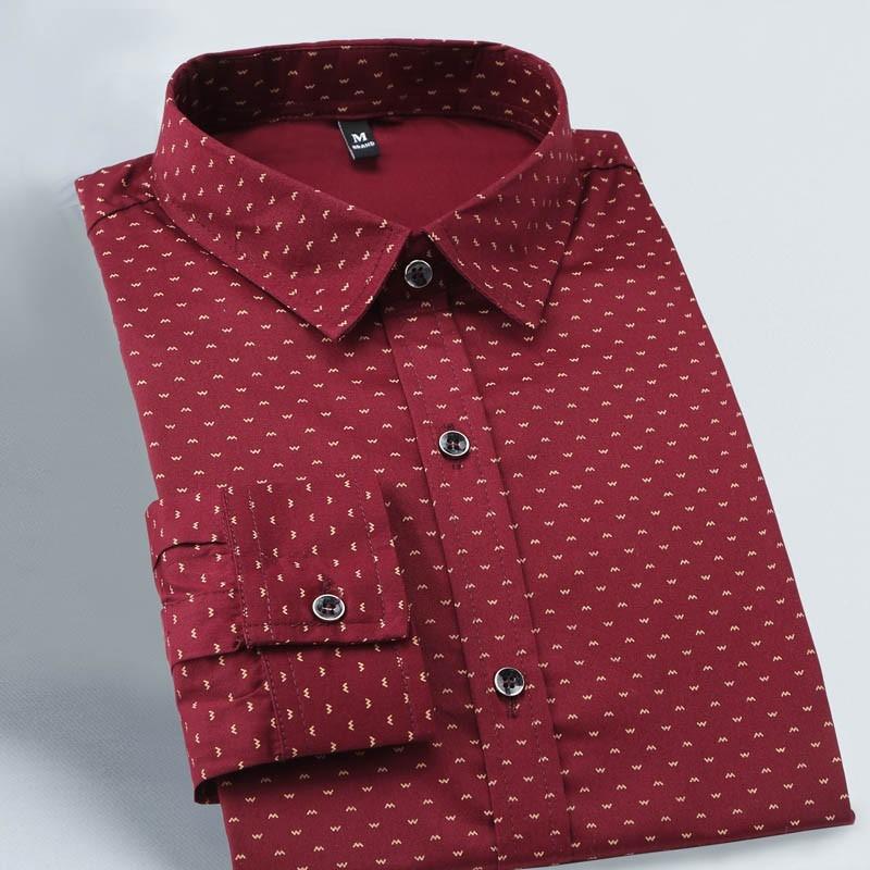 14f35f588dffb New Autumn Fashion Brand Print Shirts Slim Fit Shirt Men Long Sleeve ...