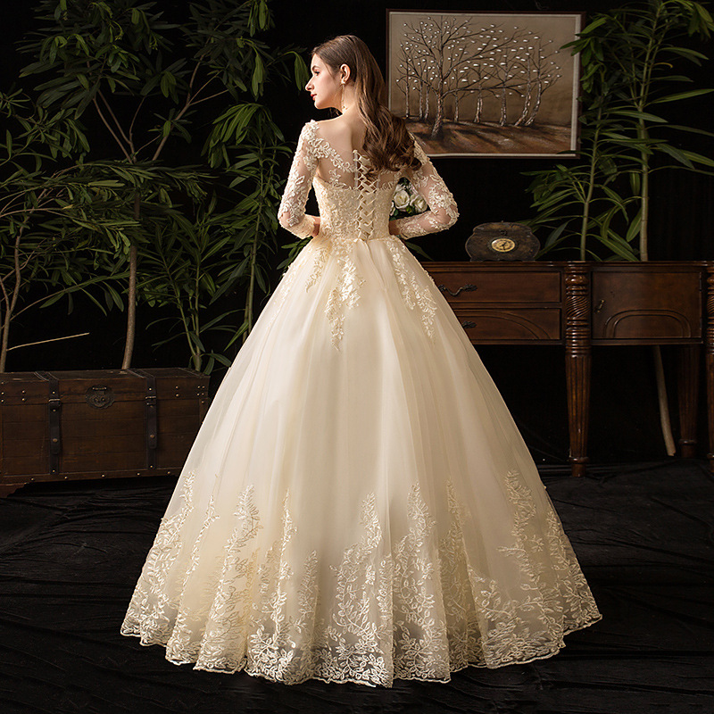 Image 5 - Champagne O Neck Full Sleeve 2019 New Wedding Dress Illusion Lace  Embroidery Simple Custom Made Bridal Gown Vestido De Noiva LWedding  Dresses