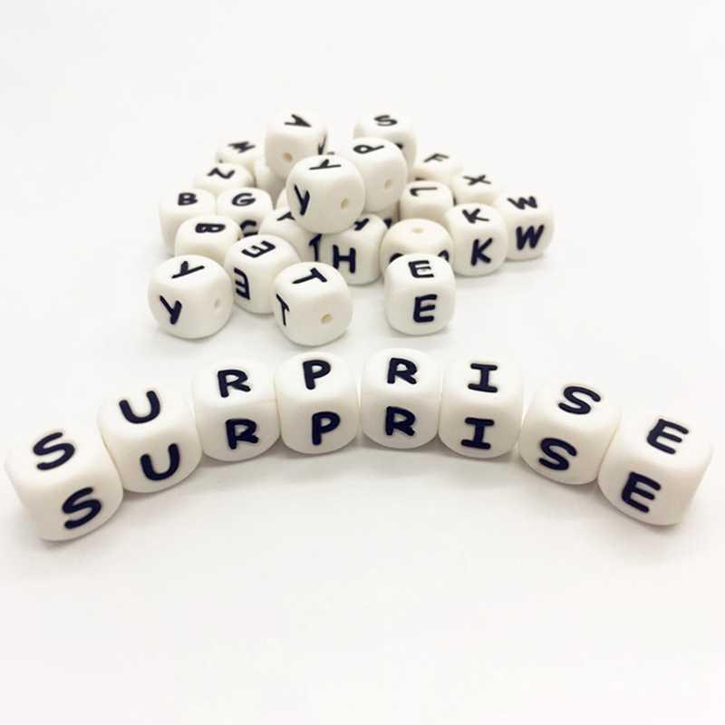 1 шт. силиконовые буквы бусины, Прорезыватель для любого имени на соски-пустышки цепи клипы 12 мм Жевательная Алфавит Цепочки и ожерелья для режущихся зубов