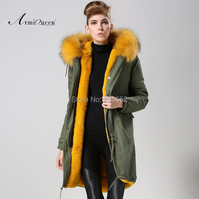 Fashion Womens Real Fur Collar Thick Warm Zipper Jacket Trench Coat Parka Outwear yellow fur lined army jacket