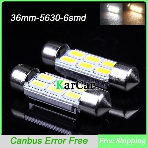 2PCS/Lot 36mm 5630 SMD 6 LED Canbus Error Free LED Dome Light Bulbs, Car Dome Light White/Warm White Festoon Light