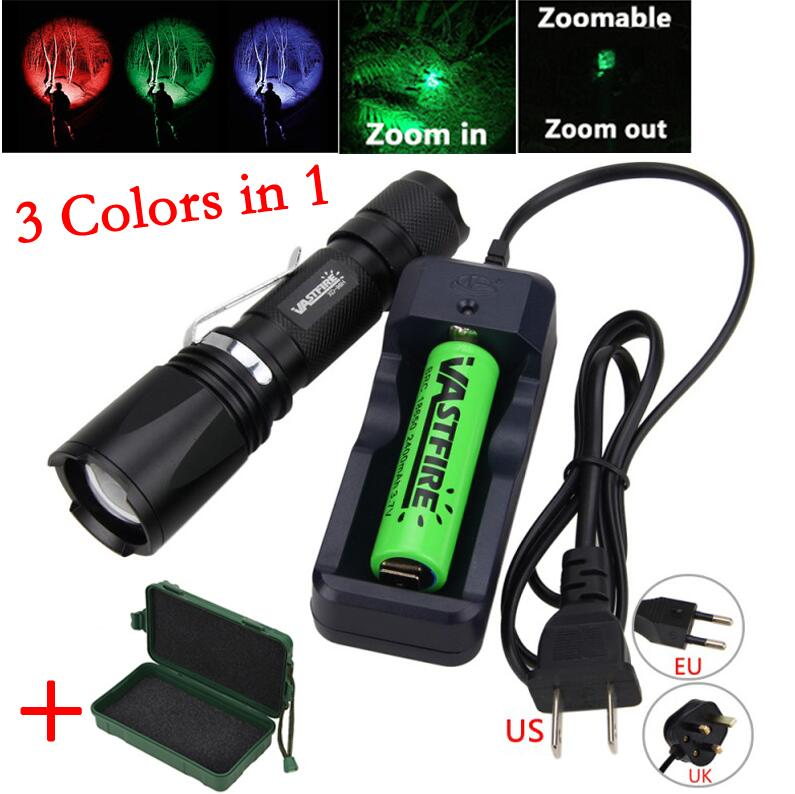 10000LM T6 LED Adjustable Focus Zoomable 3 Colour Flashlight Torch Hunt Lamp Hot
