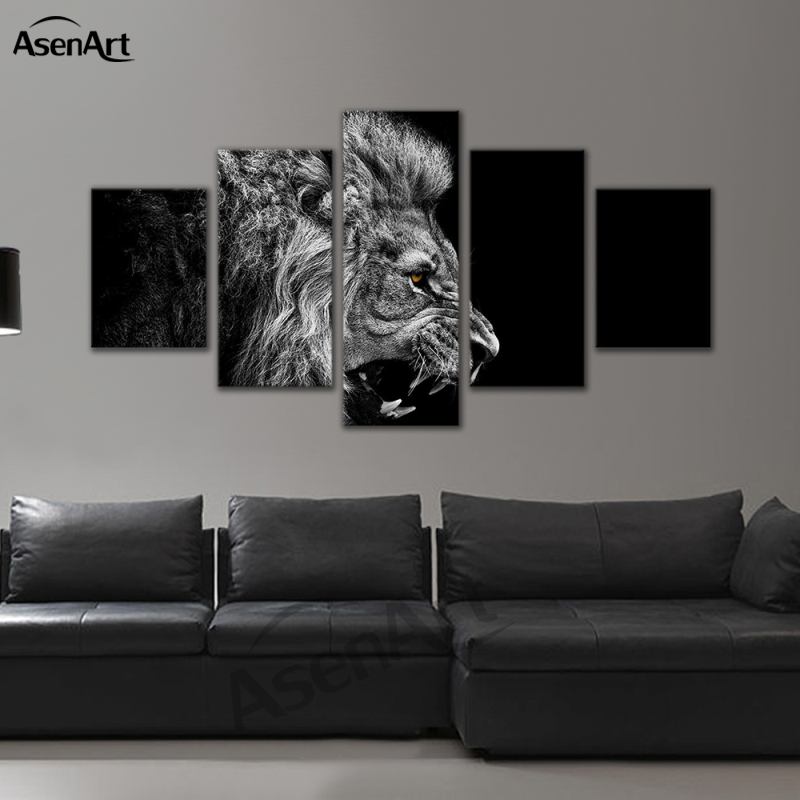 5 panel wall art animal canvas prints picture black and white lion painting framed picture for living room in painting calligraphy from home garden on