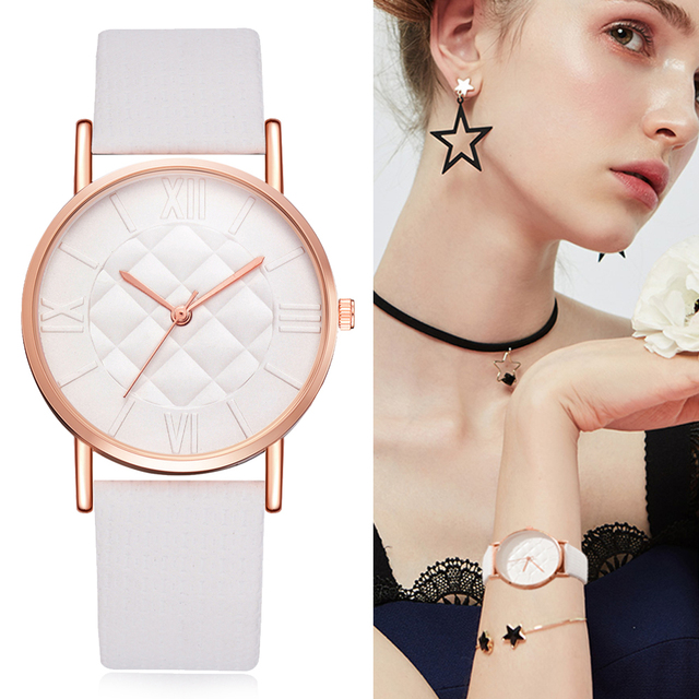Leather White Watches Women Grid Dial Ladies Dress Watch Women's Casual Sport Qu