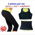 (Pantalones + chaleco + cintura) Caliente Venta Super Neopreno Talladora Shapers Ropa Conjunto Conjuntos de Adelgazamiento de Las Mujeres