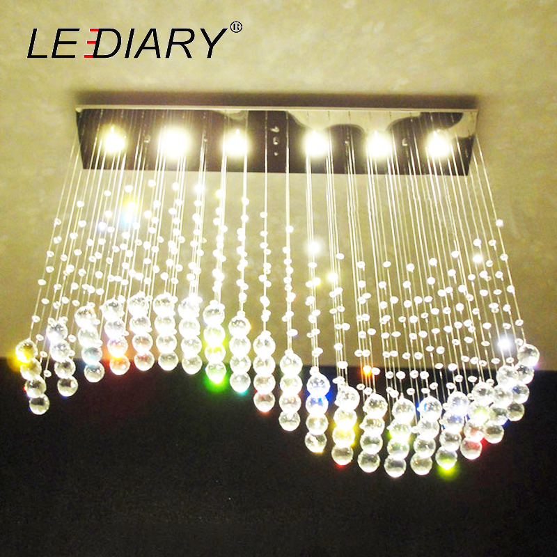LEDIARY Wave Crystal Pendant Ceiling Lamp 5/6 LED Bulbs 110-220V Surface Mounted Hanging Chandelier For Dining Room Hotel Palor