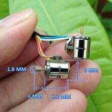 1 правильный 4 провода 2 фазы миниатюрный шаговый двигатель микро шаговый двигатель(диаметр: 8 мм, высота: 8,2 мм