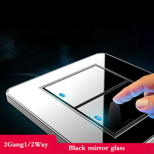 Tap the switch at any point Type 86 Black Mirror Glass 2Gang 1Way 2Way Wall Switch Panel with led fluorescent