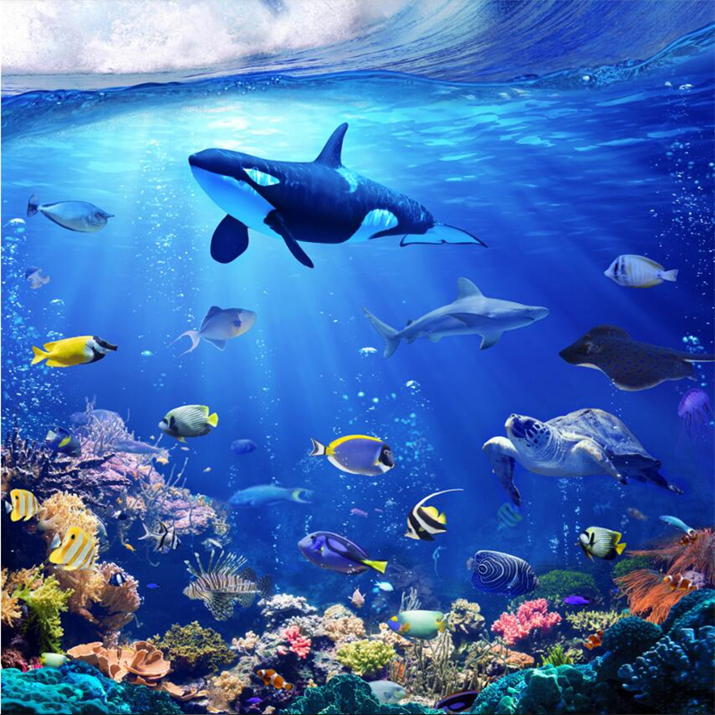 Beibehang Blue Seabed World Dolphin 3d Stereotactic Background Wall Floor Painting Customizing Large Wall Wallpaper Wallpaper World World Wallpaperwall Wallpaper Aliexpress