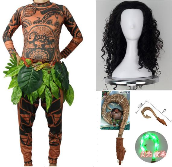 Adult Maui Cosplay Costumes Tattoo Printed Top Pant Belt Hairpiece Toy Hook Man Halloween Cos Anime Moana Cos