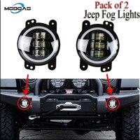 A Pair Car Fog Lamps 30W LED SUV Fog Lights Angel Eye Truck Fog Lights 6000K Waterproof Lights