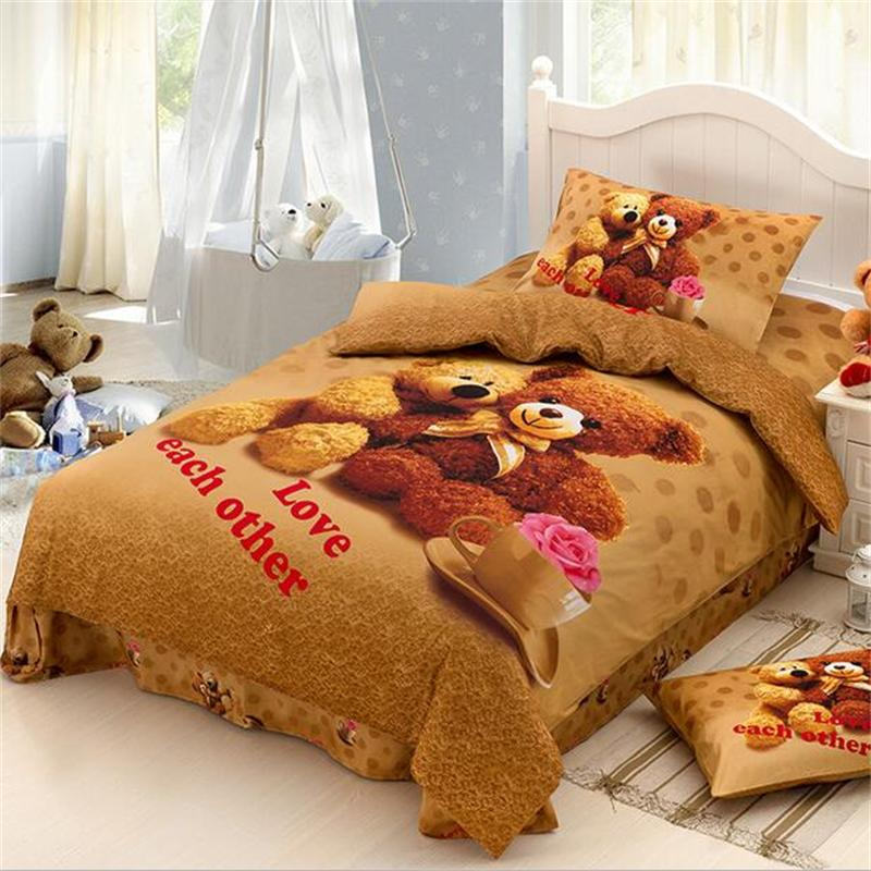 Cute Teddy Bear Bedding Sets Twin Size Bed Sheets Pillowcase Quilt Cover Cotton Printed Fabric Children Cartoon Bedroom Sets
