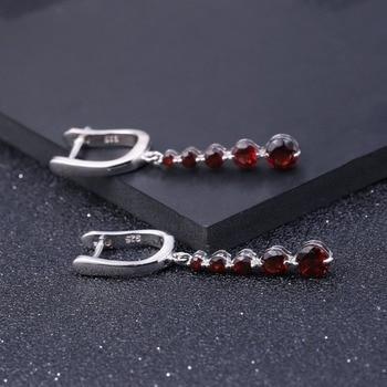GEM'S BALLET 2.67Ct Natural Red Garnet Gemstone Drop Earrings Genuine Pure 925 Sterling Silver Earrings Fine Jewelry For Women