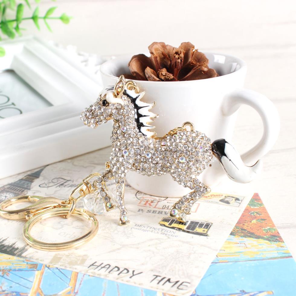Top Selling White Horse Keyring New Fashion Cute Purse Bag Rhinestone Crystal Key chain Women Pendant Charm Gift