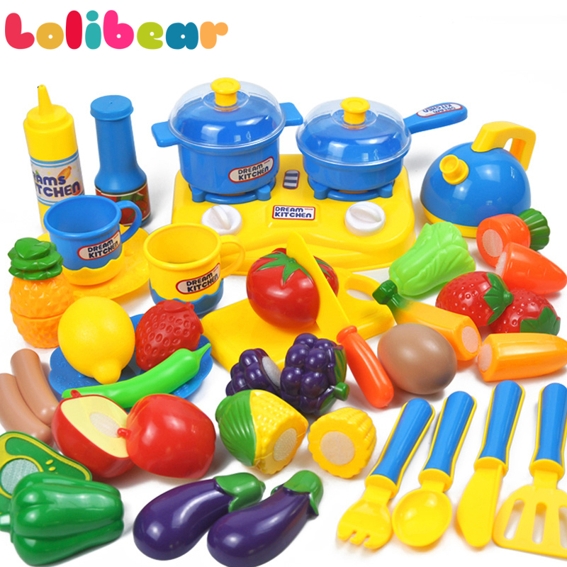 34pcs/set Kids Kitchen Toy Pretend Play Plastic Vegetables And Fruit Food Tea Cup Dishes Simulation Cooking Set Goods Girls Toys