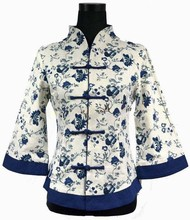 High Fashion Blue Vintage Women s Jacket Linen Cotton Coat Flower Chinese Tradition Tang Suit Oversize