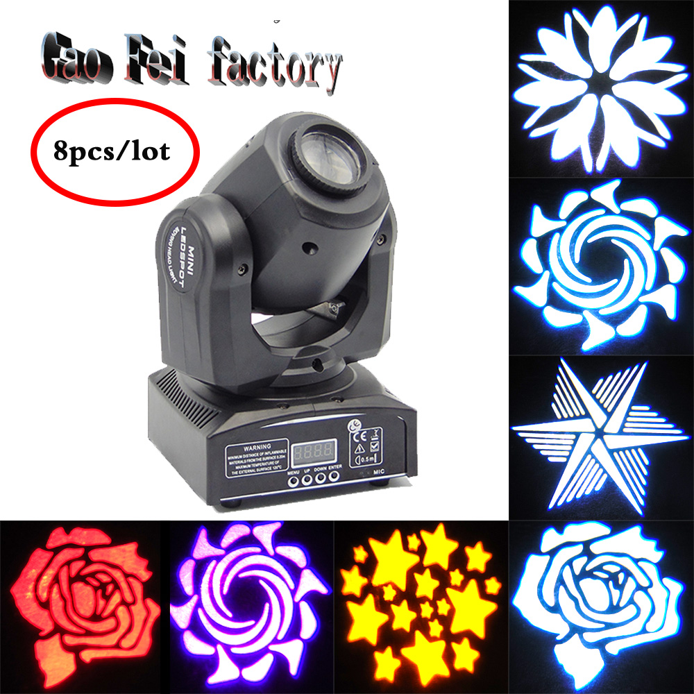 цена на 8pcs/lot 30W led gobo moving head light led spot light ktv disco dj lighting dmx512 stage effect lights 30W led patterns lamp