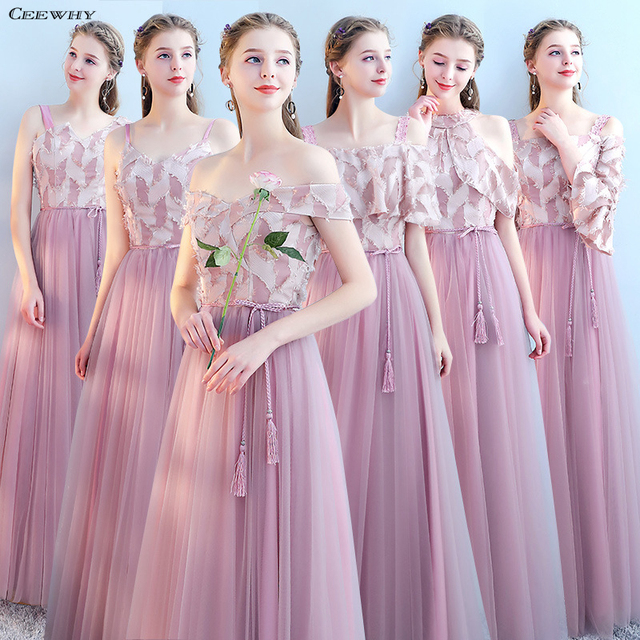 CEEWHY תחרת אפליקציות שמלות שושבינה ארוכה באורך רצפת דפוסי שמלה לנשף עבור שמלות השושבינות Bruidsmeisjes Jurk נשים