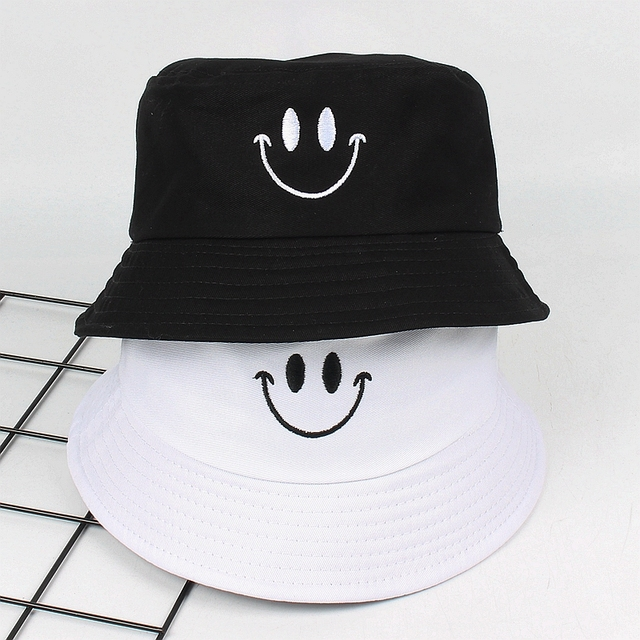 560856d10cf Cute Smile face Embroidery Bucket Hat for women men panama summer Bob flat  Caps Hip Hop