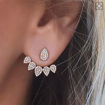 Trendy Front Back Double Sided Crystal Stud Earrings For Women Geometric Ear Jacket Earrings Jewelry Accessories