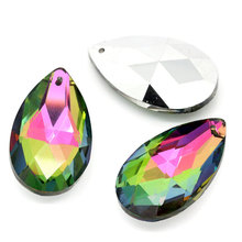 цены на 10Pcs AB Color Faceted Flatback Water Drop Glass Pendants Component Fashion Jewelry Diy Findings Charms 3.8x2.2cm  в интернет-магазинах