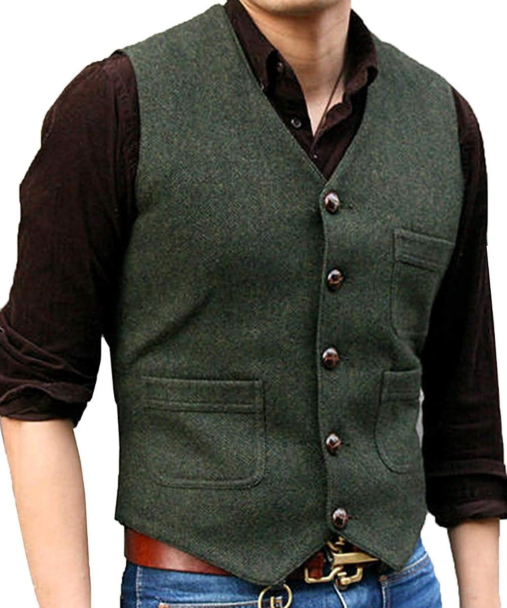 Mens Suit Vest V Neck Wool Herringbone Casual Formal Business Vest Waistcoat Groomman For Wedding Green/Black/Brown