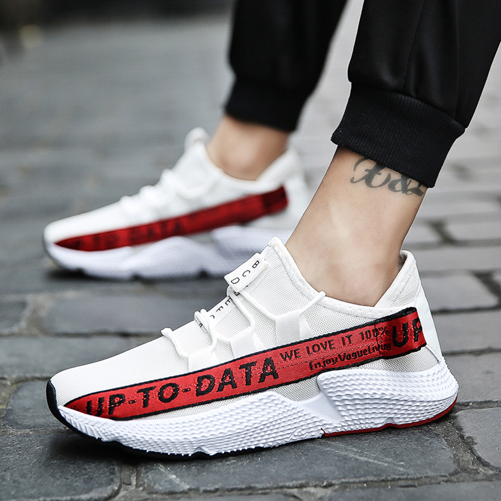 US $7.03 54% OFF|MUQGEW mixed colors letter Men's Sneakers Casual Wild Fashionable Sneakers Mesh Breathable Movement Shoes flat sneaker shoes men in