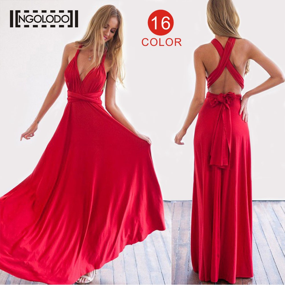 377b638b6e Women Bridesmaids Multi way Wrap Convertible Boho Maxi Club Sexy Red Dress  Bandage Long Dress Party Infinity Robe Longue Femme