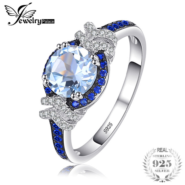 JewelryPalace 1.95ct Genuine Sky Blue Topaz Created Blue Spinel Gemstone Ring 92