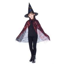 a026fa0e0792b Nouveau Costume de magicien Halloween enfants joyeux rouge pourpre or Set  assistant sorcière Cape Robe et chapeau pour cadeaux g.
