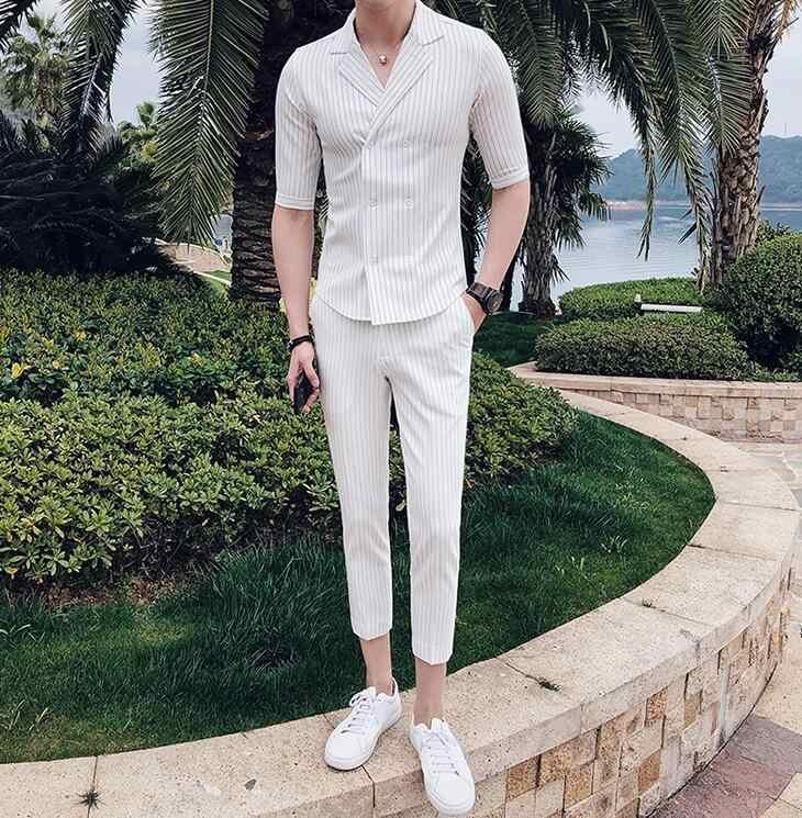 Двубортный костюм летний мужской свадебный костюм 2019 черный, белый, серый, синий полосатый костюм комплект для курения Uomo Trajes De Hombre