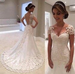 Vestido De Noiva Branco Backless Lace Sereia Vestidos de Casamento 2019 Com Decote Em V Manga Curta Vestido de Casamento Vestido de Noiva Robe de mariage