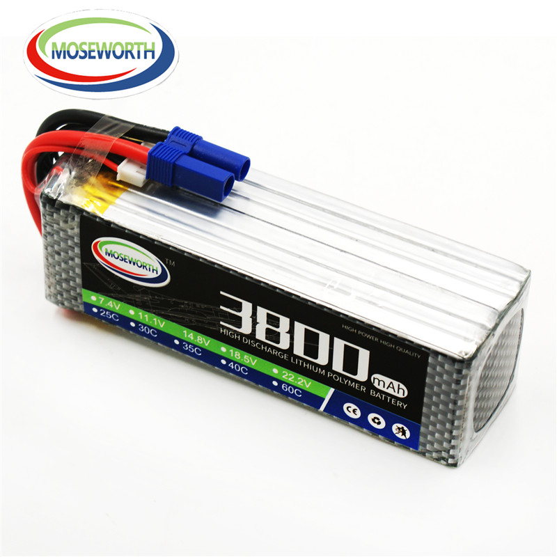 MOSEWORTH RC Drone Lipo battery 22.2V 60C 6S 3800mah Li-po Batteria for Airplane Helicopter High rate cell quadcopter