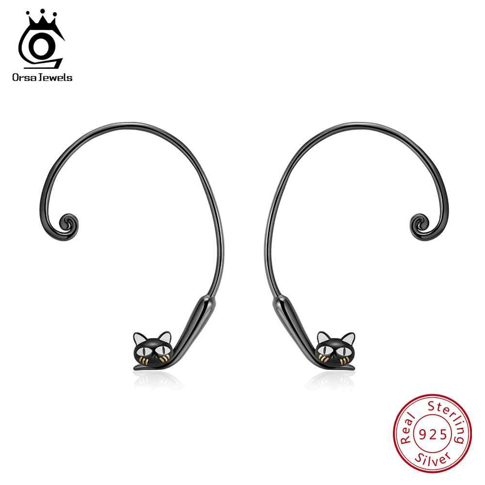 ORSA JEWELS Solid 100% 925 Sterling Silver Girl Stud Earrings Cute Jumping Black Cat's Tail Can Adjust For Women Jewelry SE91