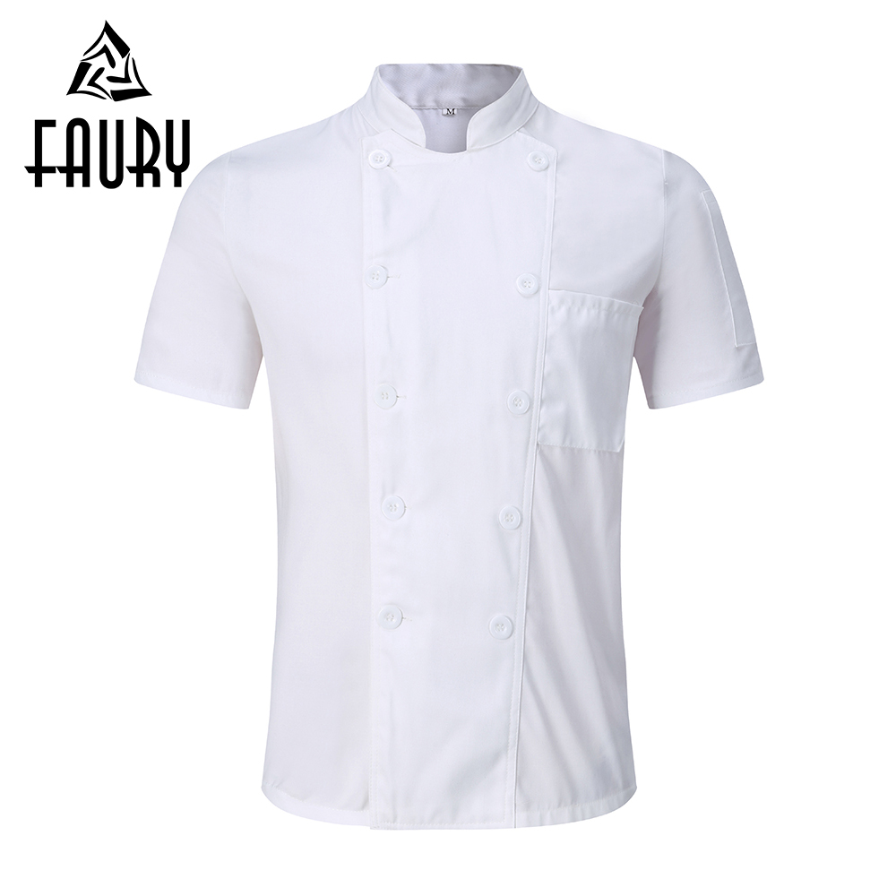 Unisex White Chef Jackets Double Breasted Short Sleeve Summer Restaurant Food Service Kitchen Work Cooking Wear Uniforms Aprons
