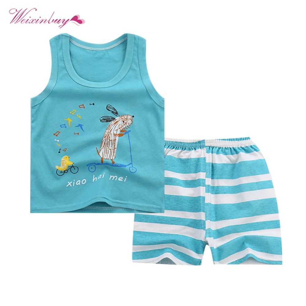 2018 Children vest T-shirt shorts pant suit boys girls clothing suit Summer soft cotton clothes newborn kids sets summer baby boys clothing set cotton animal print t shirt striped shorts sports suit children girls cartoon clothes kids outfit