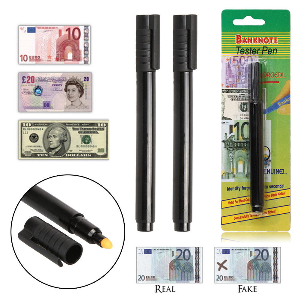 2 x Money Checker Money Detector Currency Detector Counterfeit Marker Fake Banknotes Tester Pen Unique Ink Hand Checkering Tools