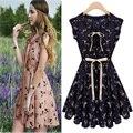 Robe ventas caliente nuevas mujeres Casual Vintage Deer imprimir Mini vestido Vestidos del reno de los ciervos sin mangas más el tamaño de la gasa del verano