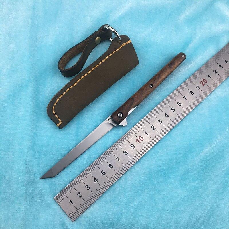 LEMIFSHE M390 lame petite poignée flip couteau pliant roulement à billes rouge ombre bois + acier poignée extérieure fruit couteau EDC outil
