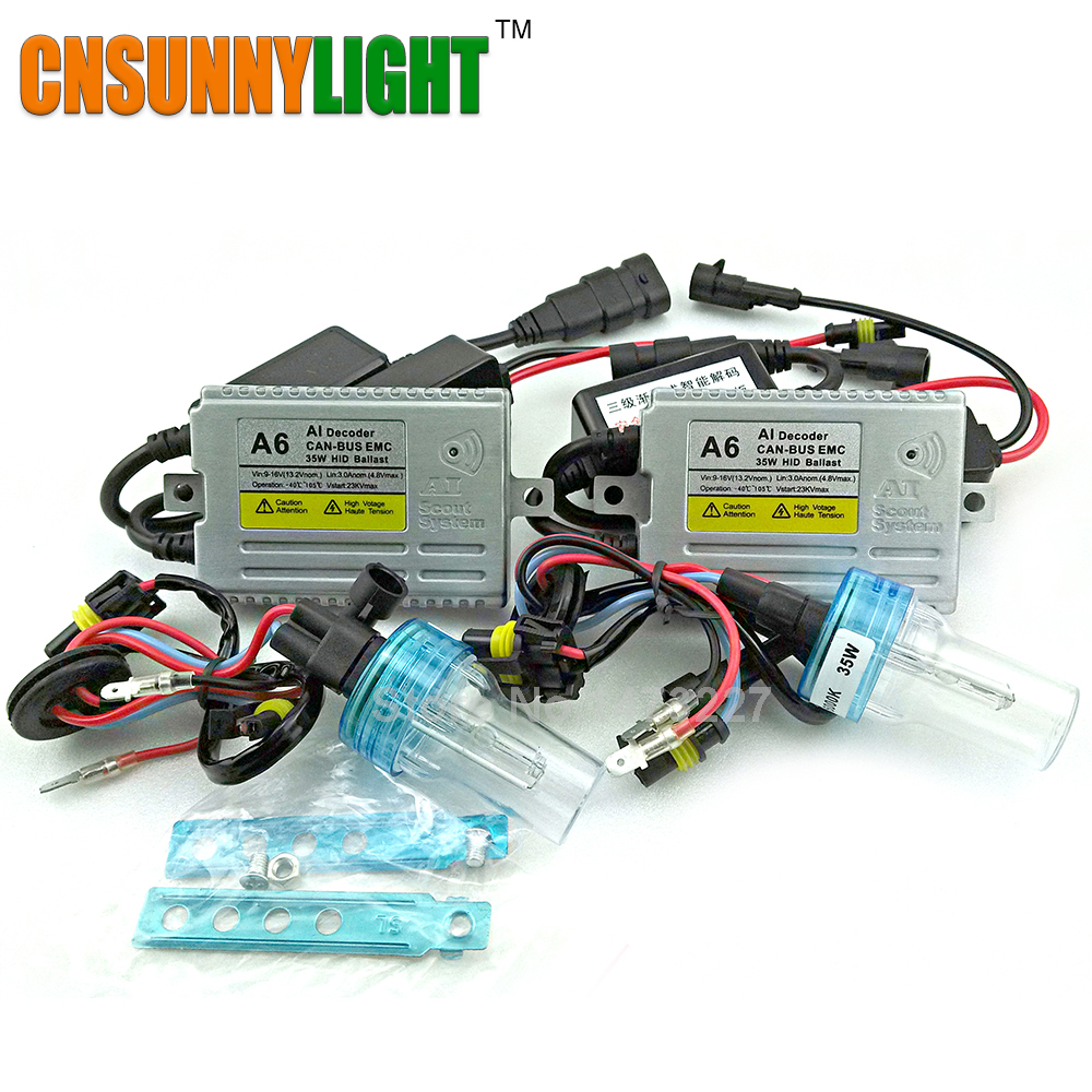 CNSUNNYLIGHT CANBUS HID kit EMC AI SCOUT SYSTEM xenon hid kit H7 H4 6000K H1 H3 H8 H10 H11 9005 9006 HB3 HB4 5202 Car Headlight cnsunnylight 38w xenon hid kit canbus quick start bright smart ballast all colors 4300k 6000k replacement bulb h1 h3 h4 h7 h11