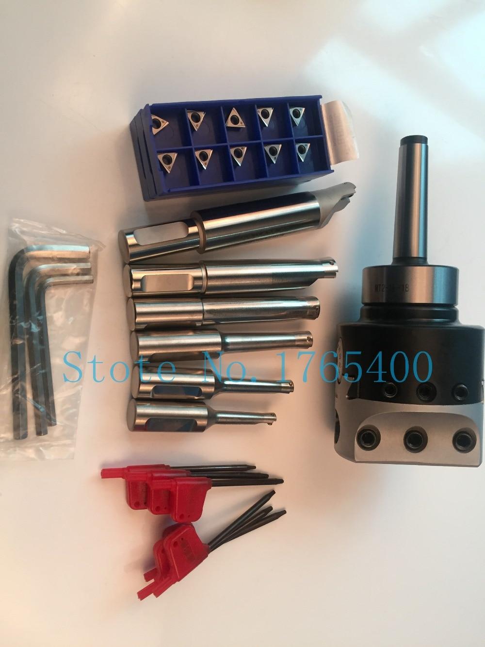 New MT2 M10 & F1 -18 75mm boring head and shank 18mm 6pcs boring bar and 10pcs carbide inserts цена