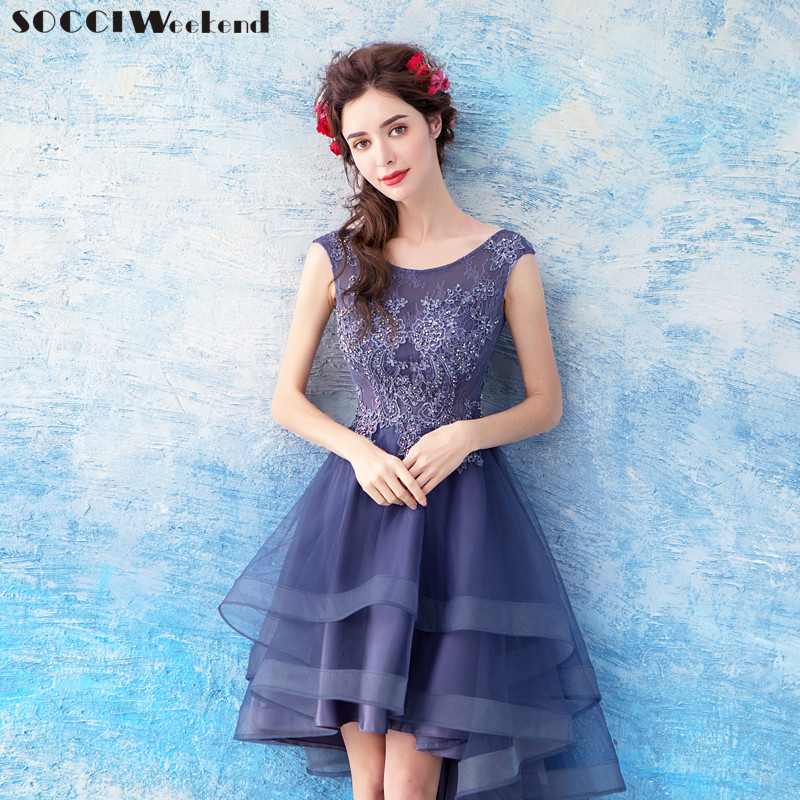 Weddings & Events Socci Weekend Elegant Prom Dress 2018 Navy Womens Half Sleeves Knee Length Formal Party Gowns Sequined Dresses Robe De Reception Online Shop