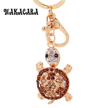 WAKACARA Novelty Rhinestone Tortoise Keychains Keyring Turtle Metal Crystal Key Ring Chains Keychains for Bags Lovers Gift