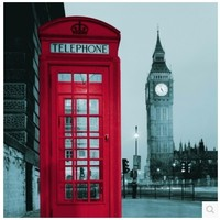 European polyester shower curtain waterproof Big Ben London telephone booth waterproof toilet bath curtain
