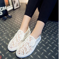 2016 new spring and summer fashion lace white mesh shoes breathable Women shoes flats Women sneakers size 40