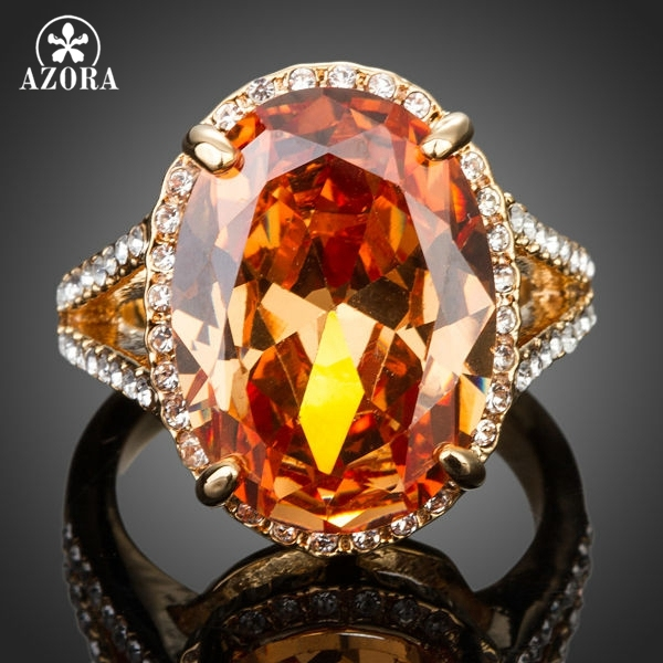 AZORA Gold Color Big Egg Shaped Cubic Zirconia Around With Crystal Adjustable Si