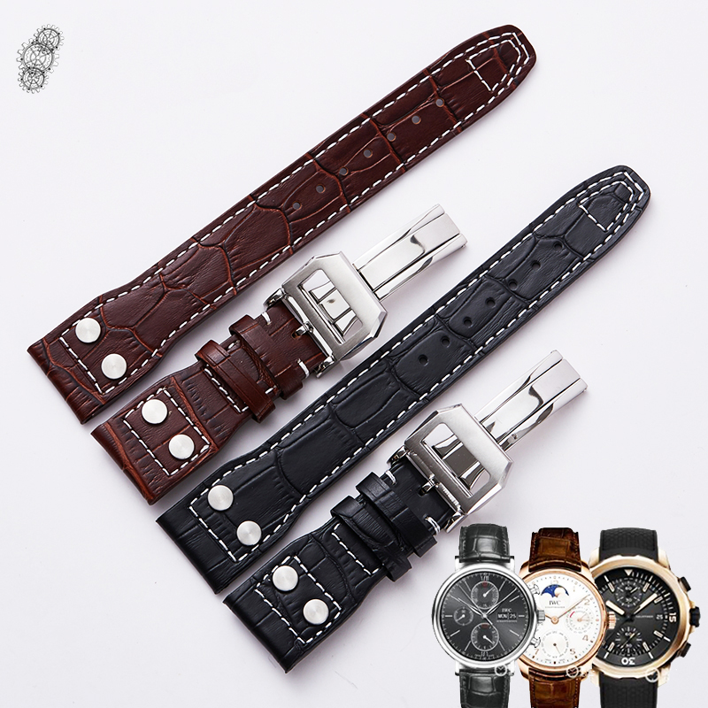 Watch Band Genuine Leather Straps 20mm 22mm Brown Black Watch Accessories Men Women High Quality Brown Colors Watchbands For IWC