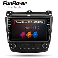 FUNROVER 9 android8.0 автомобильный dvd gps мультимедийный стерео плеер для Honda Accord 7 2007 2003 Авто Радио Видео навигация rds BT wifi