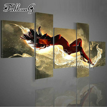 FULLCANG Naked Girl Diy Full Square Diamond Embroidery 5PCS Diamond Painting Cross Stitch Mosaic Rhinestone Kits Home Decor G623 fullcang beauty full square diamond embroidery 5pcs diy diamond painting cross stitch mosaic kits g591