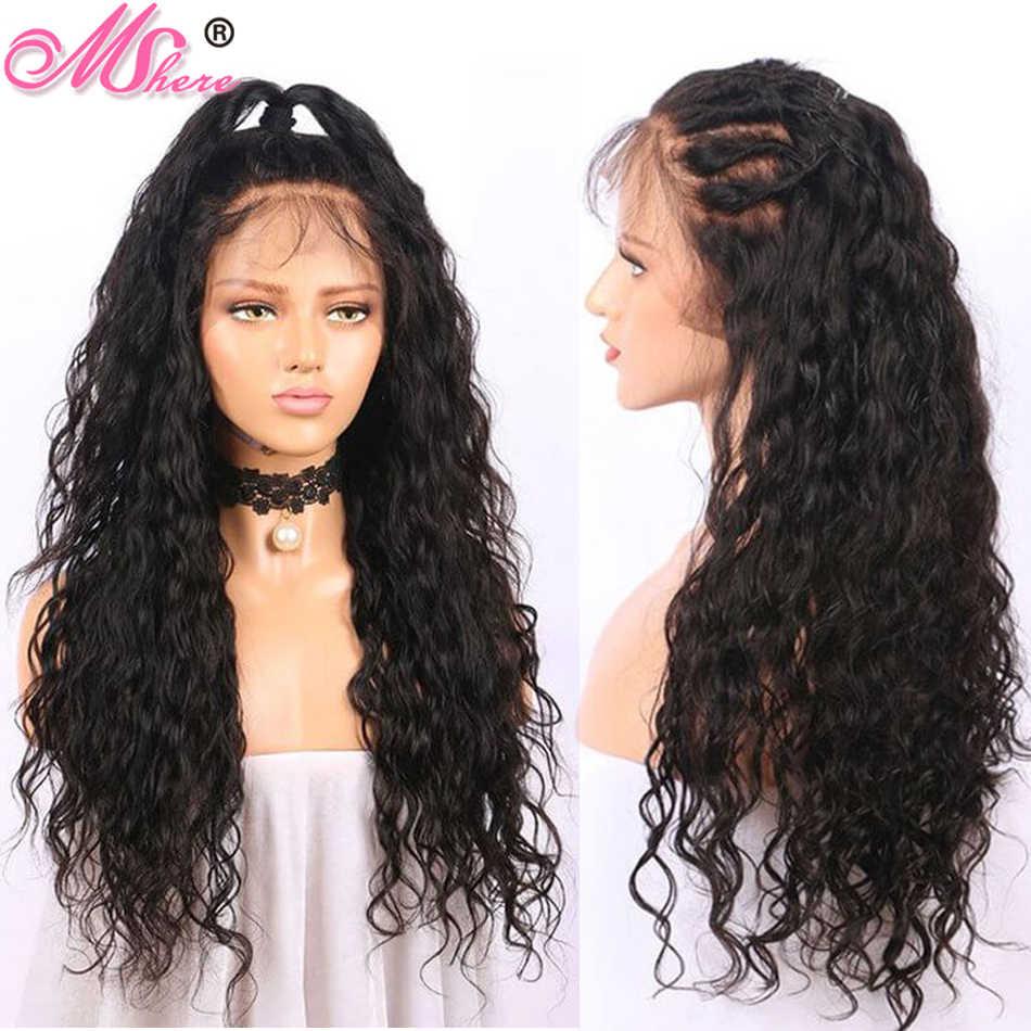 Mshere 360 парик из натуральных волос на шнурках 360, волнистые волосы для женщин, предварительно сорванные бразильские 150%, мокрые волнистые здоровые волосы, парик
